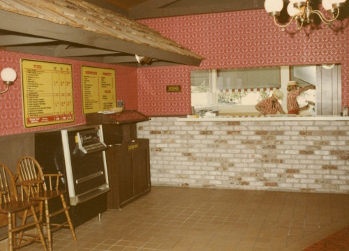 Straw Hat Pizza interior in August 1972